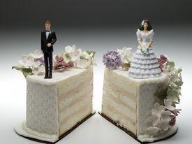 Sliced Wedding Cake signifying divorce