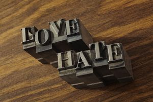Lead type spelling ''love'' and ''hate''