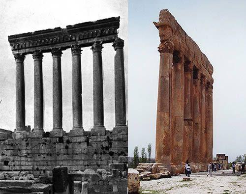 Baalbek Temple of Jupiter Baal (Heliopolitan Zeus): Two Views of the Six Remaining Columns