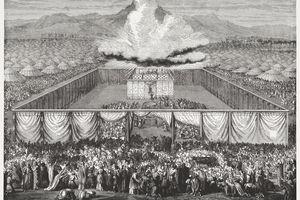 Inauguration of the Tabernacle (Exodus 40), wood engraving, published 1886