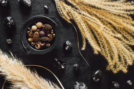 Black Cauldron with Seeds and Obsidian on Black Table