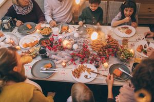 Multi-generation family at a dinner party