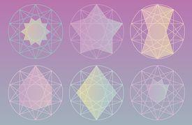 Various pentagram designs, Enneagram, Decagram, Endekagram, and Dodekagram