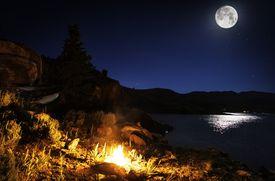 Full Moon and Bonfire