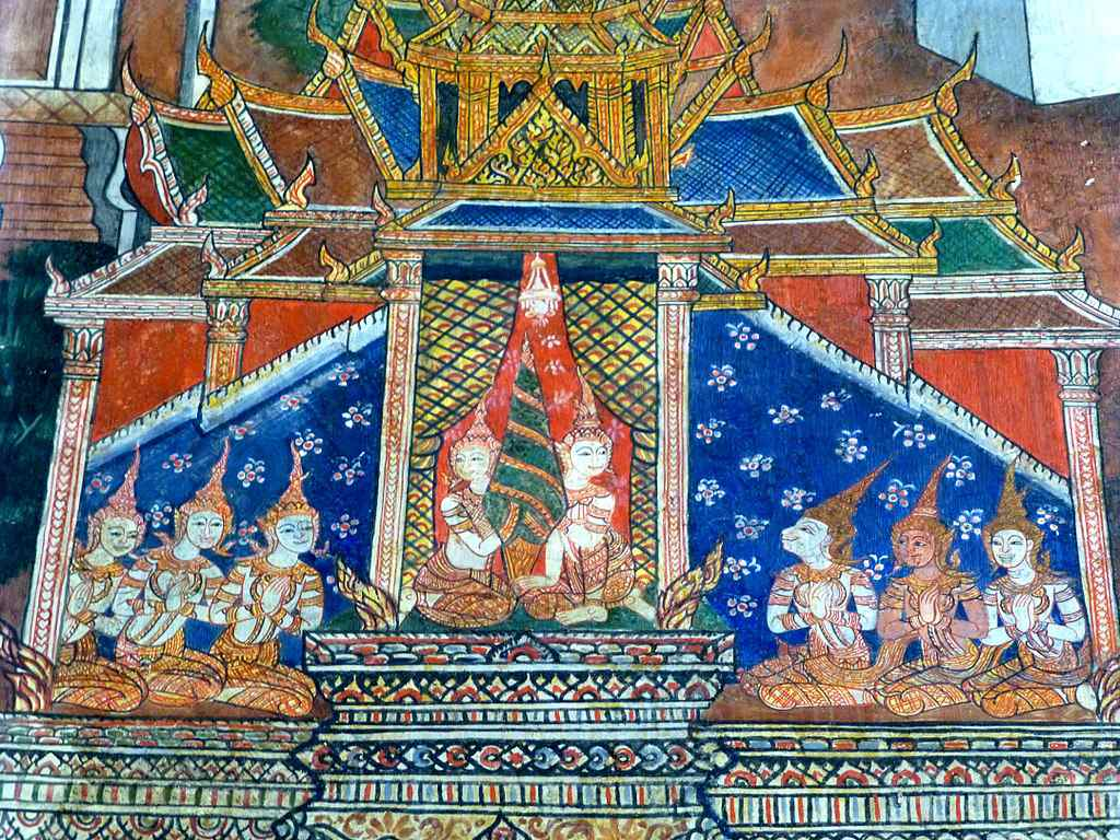 Painting of buddhist marriage in temple.
