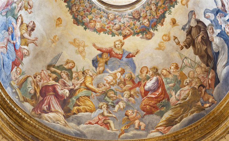 Parma - The fresco of Assmption of Virgin Mary in side cupola of church Chiesa di Santa Cristina by Filippo Maria Galletti (1636-1714).