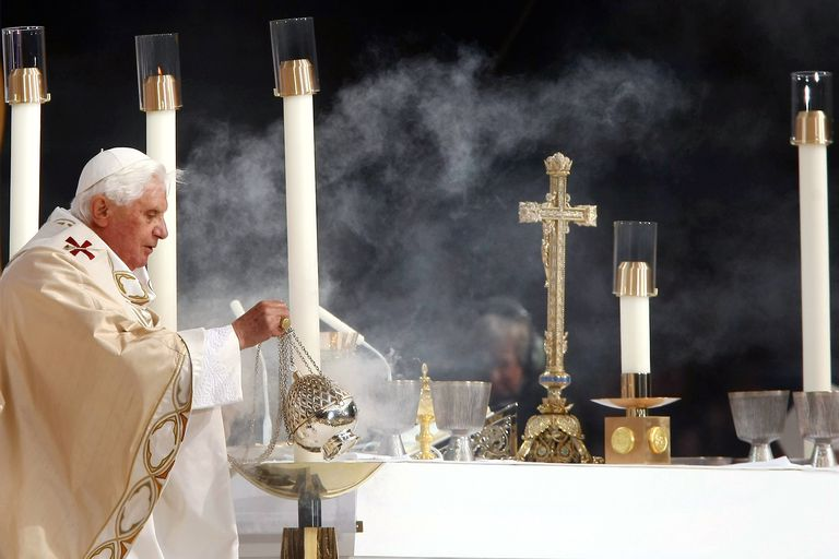 Pope Benedict XVI Incenses Altar at Yankee Stadium Mass