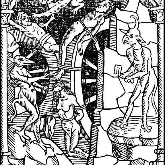 Illustration of people being tortured by demons. Le grant kalendrier des Bergiers, 1496.