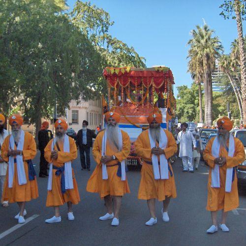 Panj Pyara March Ahead of Guru Granth Sahib Float