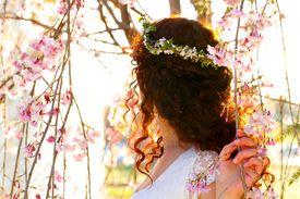 Back view of woman with flower crown
