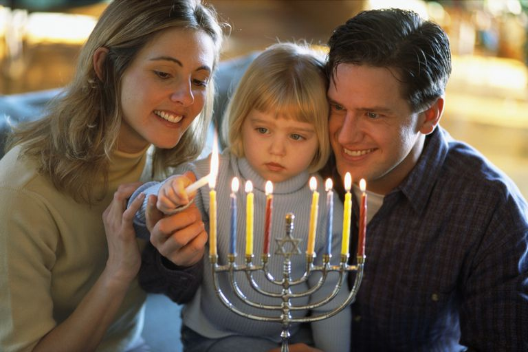 Family Lighting a Menorah