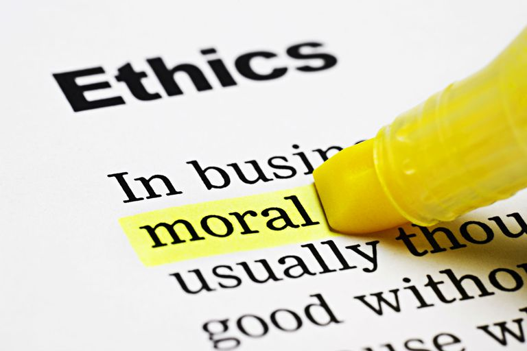 Yellow marker highlights 'moral' in Ethics document