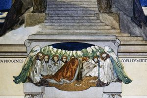 Detail of an illustration of a scene from Dante's Purgatory