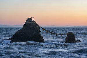 Meoto Iwa Wedding Rocks in waves in water