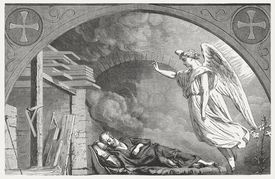 Illustration of Joseph in the Bible during his dream, sleeping being visited by an angel