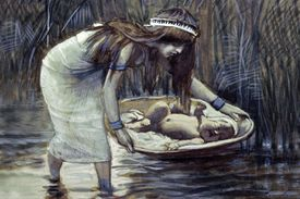 Jochebed - Moses Mother playing moses in a basket