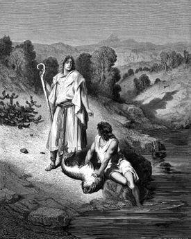 Tobias with the Archangel Raphael, 1865-1866. Artist: Gustave Doré
