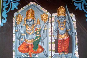 Painting of Lord Rama on a temple at Bhadrachalam in Khammam District