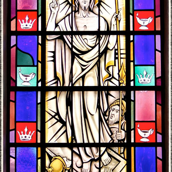 Stained-glass window of the Resurrection in St. Mary's Church, Painesville, OH. (© Scott P. Richert)
