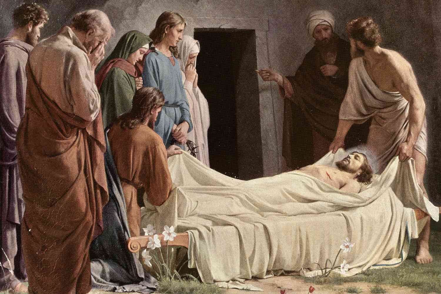 Disciples at the scene of the entombment of Jesus after his crucifixion