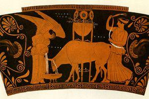 Ancient Greek women caring for a sacrificial bull