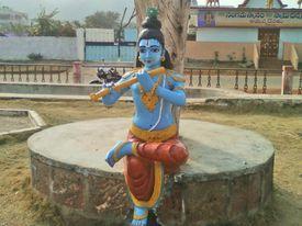 Lord Krishna Statue at a Park in Bheemili Beach