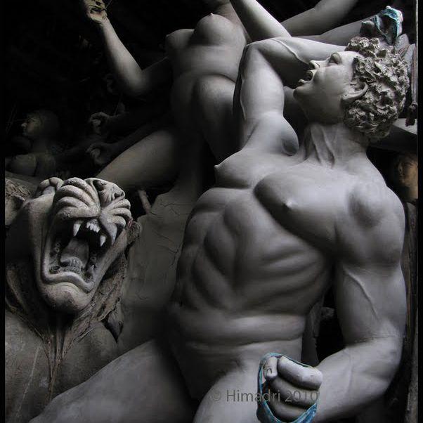 Durga fighting a tiger