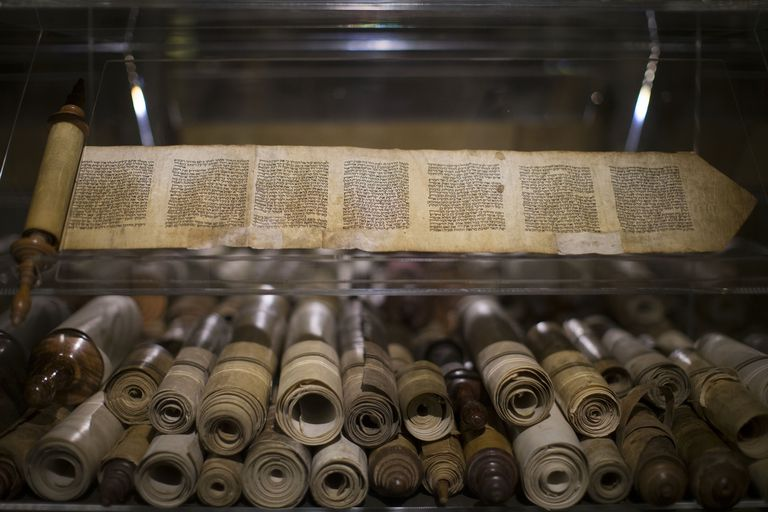 "Ancient Bible manuscripts displayed at the ""Book of Books"" exhibition in Jerusalem."