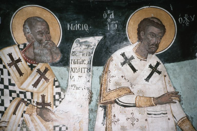 fresco of Saints Athanasius and John Chrysostom