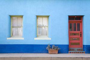 Bright blue house in Tucson's El Presidio Historic District