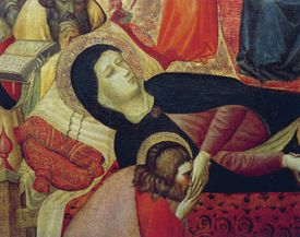 Dormition of Virgin, 15th century, by Carlo da Camerino (active circa 1396), tempera on wood, 113x170 cm, detail