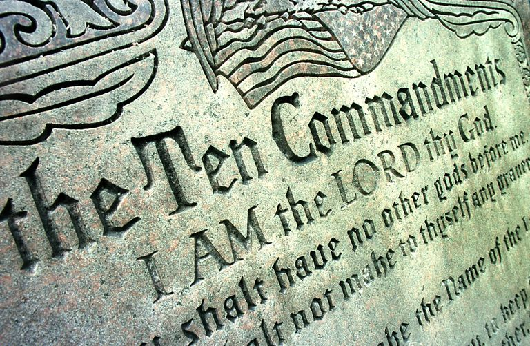 Close up of Ten Commandments sculpture.