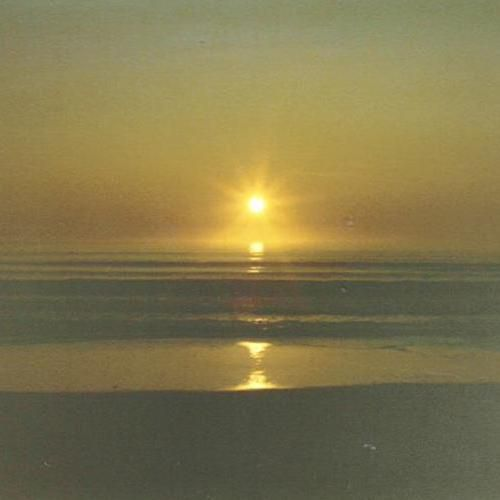 Ray of Setting Sun Reflected in the Sea