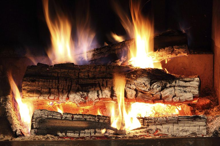 Yule log fire burning