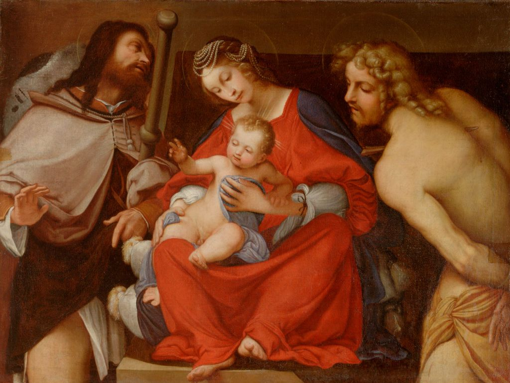 Virgin and Child with Saint Joseph and Figure of Christ