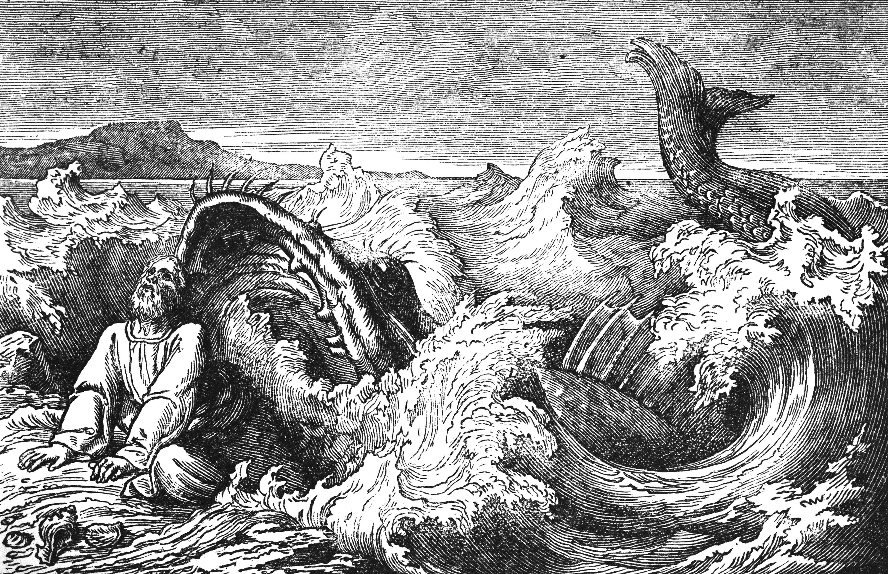 An illustration of the Bible story Jonah Cast Out by the Big Fish