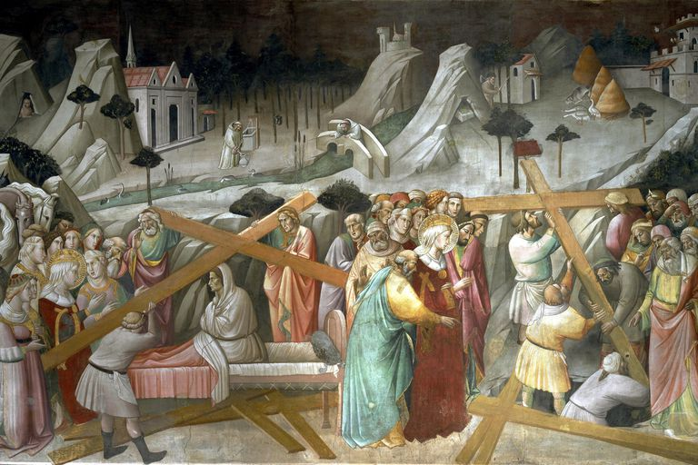Painting depicting the discovery of the True Cross by Agnolo Gaddi.