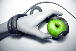 a hand holding a green apple with a black snake coiled around