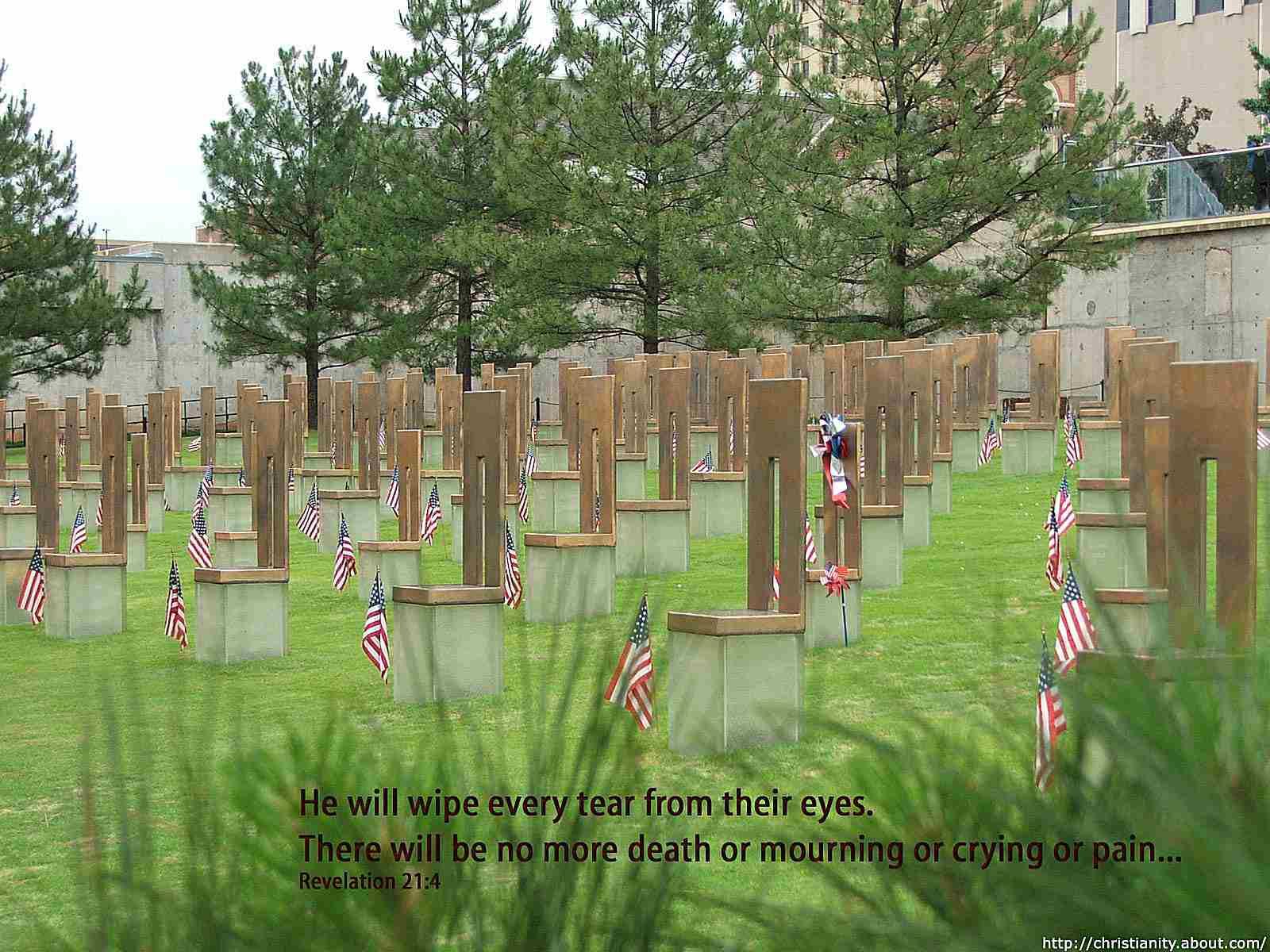 Oklahoma City Bombing Memorial with bible verse