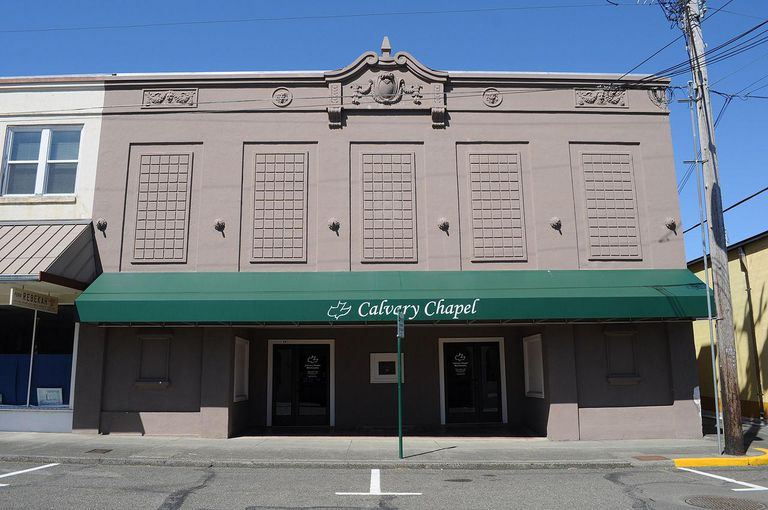 Calvary Chapel, the former Montesano Theater, 114 West Marcy Avenue, Montesano, Washington. The former Montesano Theater building is now the Silvia Building, owned by Silvia Oddfellow Lodge No. 38 IOOF. It houses the lodge and also this chapel.
