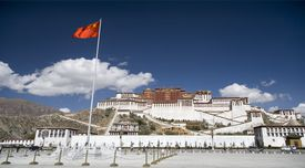Panoramic view of the Potala Palace in Lhasa, Tibet