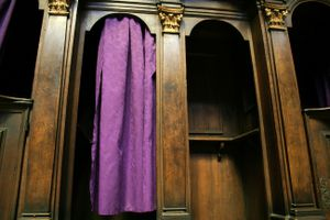 A Catholic confessional booth