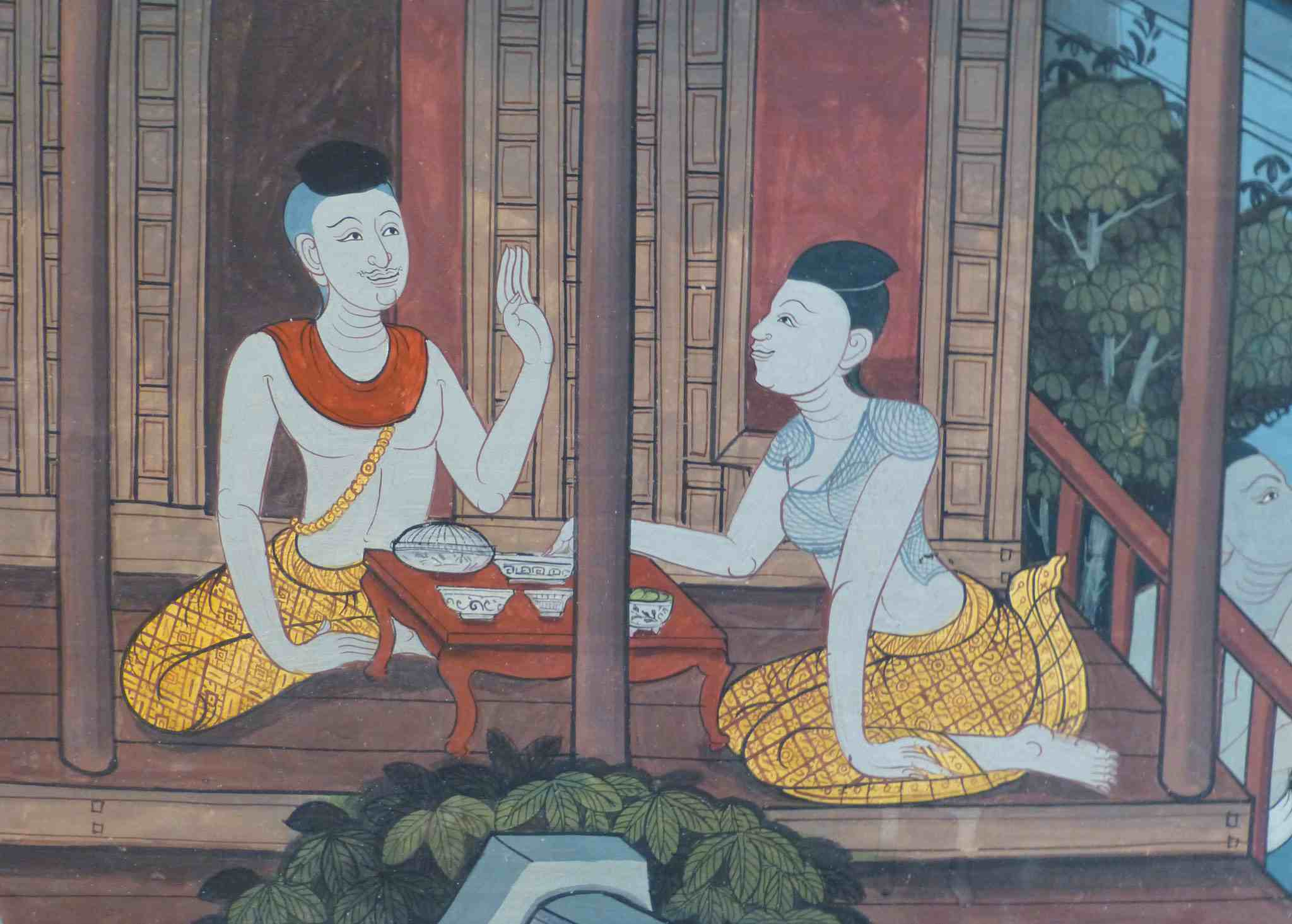 Painting of Dhammadinna and Viskha from from a mural at Wat Pho, a temple in Bangkok, Thailand.