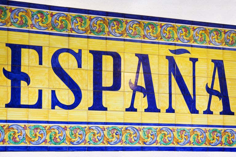 "Ceramic wall tiles spelling out ""Espana"""
