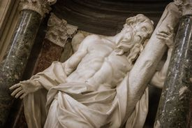 Close-up of the sculpture of St. Andrew