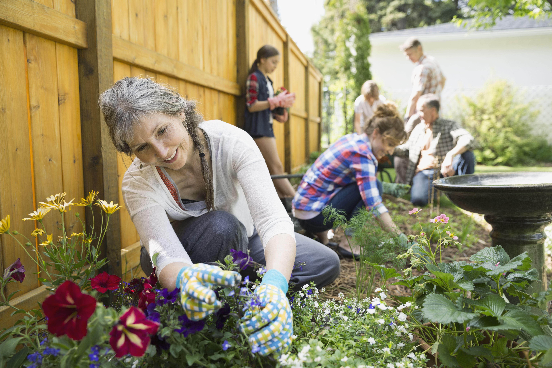 Multi-generation family planting flowers in garden