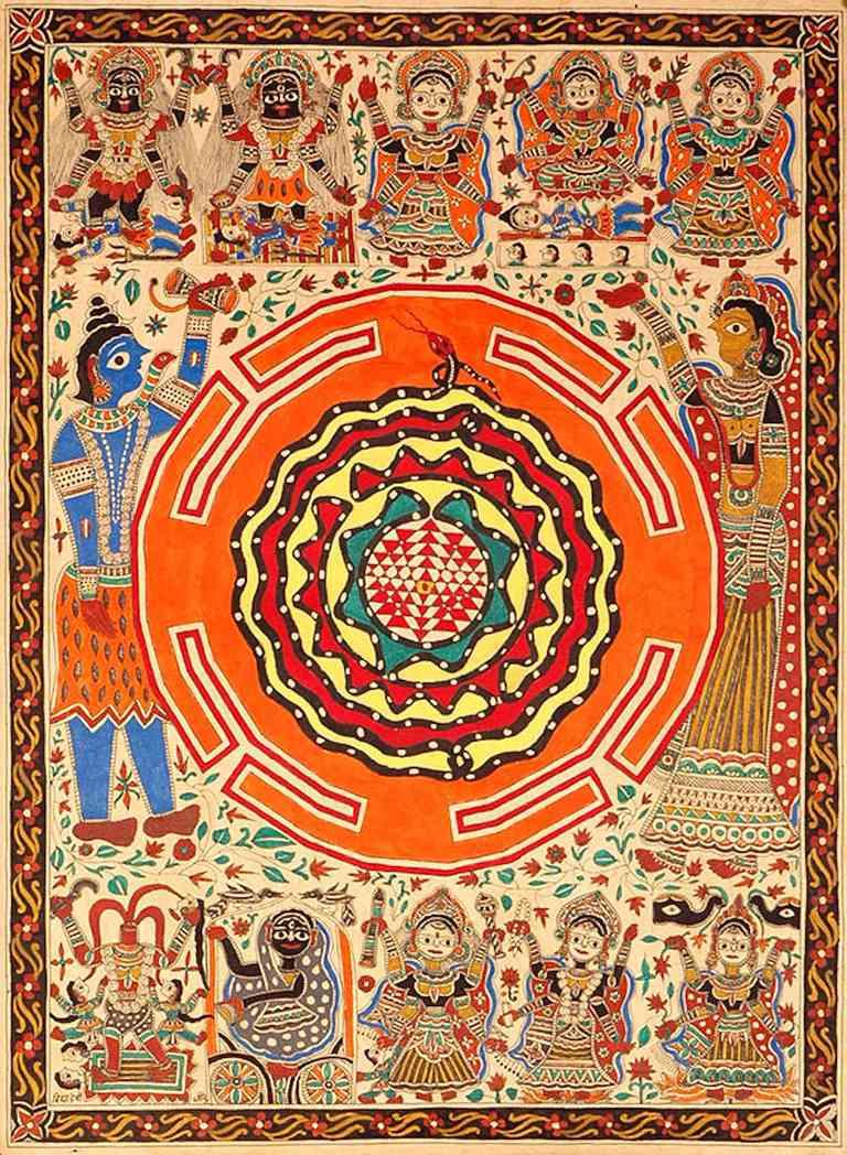 Sri Yantra diagram with the Ten Mahavidyas. The triangles represent Shiva and Shakti, the snake represents Spanda and Kundalini.