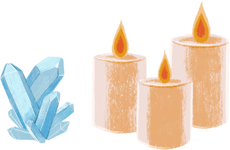 Illustrated depictions of candles and crystals.