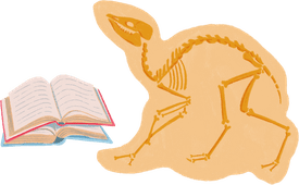 Illustrated depictions of a dinosaur fossil and books.