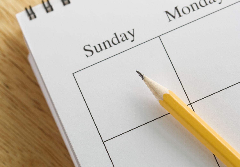 Sunday on a calendar